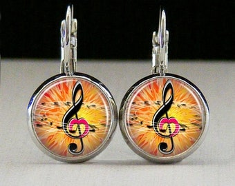 Music note Glass bezel earrings music note earrings music jewelry music lover gift custom photo earrings photo jewelry glass jewelry