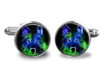 Wolf cufflinks woodland cufflinks animal cufflinks wolf gift mens cufflinks glass cufflinks silver cufflinks mens cuff links