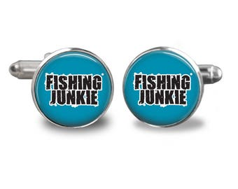 Fishing junkie cufflinks fishing cufflinks fisherman cufflinks fish mens cufflinks glass cufflink silver cufflinks mens cuff links
