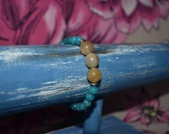 Blue Jade and Carnelian Bracelet