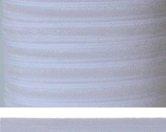 WHITE Fold Over Elastic - FOE - 5 Yards - Solid Fold Over Elastic - 5/8 Elastic - White Ribbon - White Elastic - White FOE