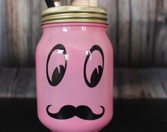 moustache and eyes mason jar storage jar