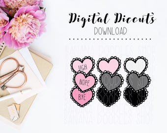 Digital Diecuts - Stacked Hearts