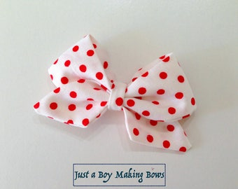 Girls Hair Bow White with Red Dots Patriotic JABMB