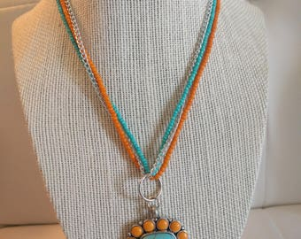 Turquoise and Orange Necklace with Sterling Silver Pendant