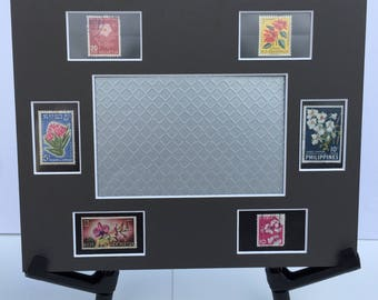 Floral, flowers, botanical, 8x10 photo mat frame featuring vintage postage stamps from around the world