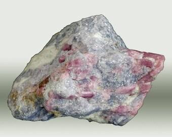 Elbaite var. Rubellite with Lepidolite, Stewart Mine, Pala, San Diego Co., California, USA  --- fine and rare minerals