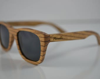 Handmade Bazeez Smoked Wooden Sunglasses - Wood Sunglasses Polarised - 100% UVA/UVB - Unisex - Mens - Womens - Marvello