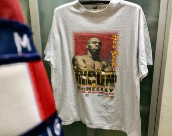 Free Ship Vintage 1995  Mike Tyson T-Shirt /Size 2 XL / Boxing Fight Vs. Mc Neeley MGM Grand  RapTees Hiphop Black Culture 90s