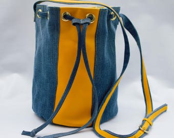 Denim and leather bucket bag