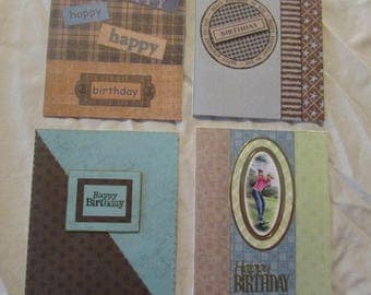 Homemade Mens Happy Birthday Cards, Set of 4 Blue and Brown Cards