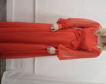 60s red floor length dress