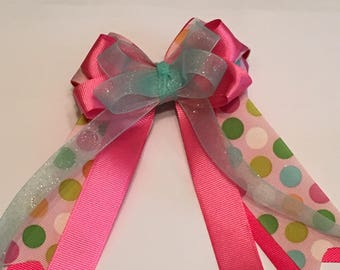 Hair Bow Pink Polka Dots