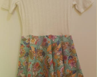 Size 8 Shimmering Gold & Floral Summer Dress