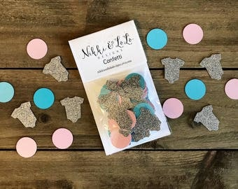 Gender Reveal Confetti, Gender Reveal Table Decorations, Baby Shower Confetti, Pink and Blue Baby Shower Confetti, Silver Confetti