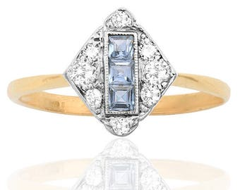 Stunning Art Deco Sapphire and Diamond ring
