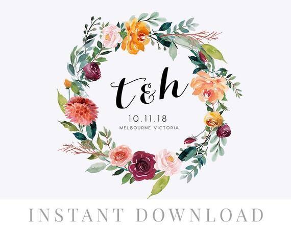 Wedding Wreath Monogram INSTANT DOWNLOAD Invite DIY Editable Logo Floral Breeze
