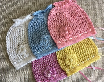 Baby Knit Hat, Baby Girl Sun Hat, Summer hat for babies, Cotton Hat