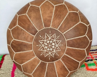 Color of leather Moroccan pouf design, Brown, by hand in Marrakech, oversize, premium and natural 100% lamb leather