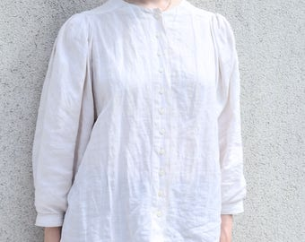 Linen Blouse White- Puffy Sleeves Blouse Bottons- Handmade