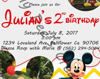 Mickey Mouse Invitation with Picture, Mickey Mouse Birthday Invitation,Mickey Mouse Club House Invitation #1
