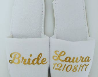 Personalised Wedding Slippers, Bridesmaid Slippers, Bride Slippers, Bridal Party Slippers, Flower Girl Slippers, Bridesmaid Gift