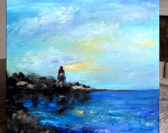Sea lighthouse canvas oil and acrylic painting