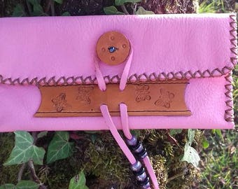 Pink leather tobacco case