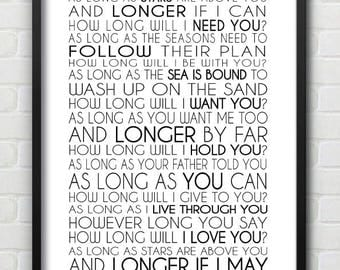How Long Will I love You Song Lyric Wall Print / Wedding Gift / Anniversary / Can Be Personalised With Names & Dates