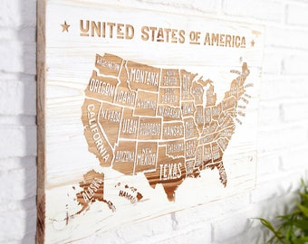 Wooden recycled with USA map poster.