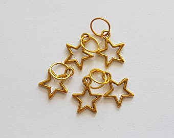 Gold Star Stitch Marker Set