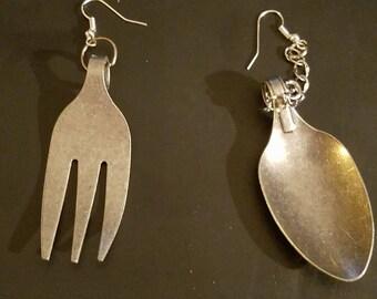 Spoon and fork earrings