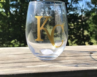 KC Royals Gold Lettering Stemless Wine glass