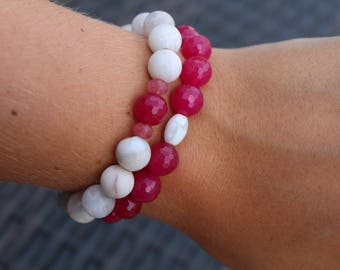 White and Dark Pink Stacked Bracelets
