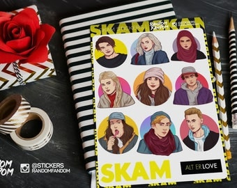 Skam stickers, laptop stickers, fandom stickers, TV series, tumblr stickers, Vinyl Stickers, Cool Stickers, Sticker Pack