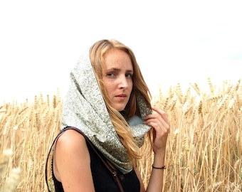 """Reversible """"Mahonia"""" - scarf - shades of pale green tube scarf - floral print type Liberty"""