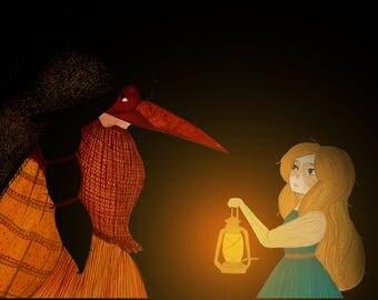 Baba Yaga and Vasilisa Meet, Russian Fairy Tale, A5 Print