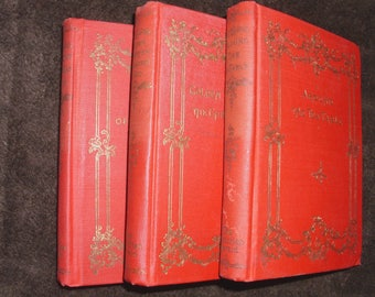 Antique Books: Three Antique Red and Gold Hardcover Christian Herald Library Books Copyright 1895