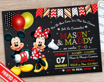ON SALE 30% Minnie and Mickey Invitation - Mickey and Minnie Invitation - Minnie & Mickey Birthday Invitation