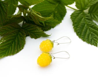 Summer Raspberry earrings bright jewelry gift for women silicone raspberry earrings woodland style  yellow  berry fruit food jewelry