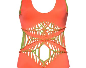 Vezzarium swimwear style named Jessica in tangerine orange and lime green