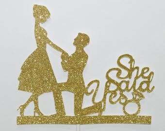 Engagement Cake Topper | She said yes