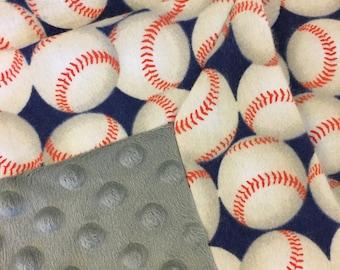 Baseball/gray Flannel/Minky baby blanket