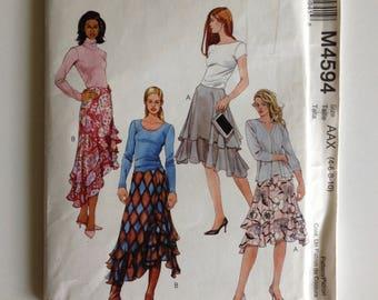 McCalls 4594, Misses Skirt, M4594, uncut sewing pattern, flared skirt, layered ruffled, shaped hem, size AA 4 6 8 10