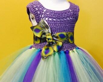 Crochet Tutu Dress, Peacock Tutu Dress