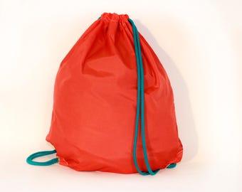 Orange  waterproof drawstring bag backpack with pocket Unique