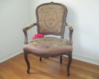 Antique French Carved Walnut Arm Chair W/Roses, Garlands U0026 Ribbons  Needlepoint Cushions C1900