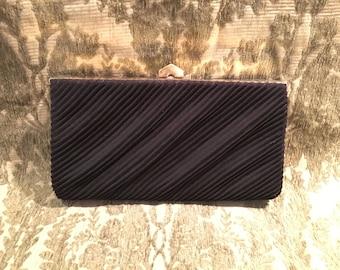 Vintage JR Black Taffeta Pleated Clutch