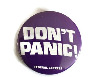 On Sale Don't Panic Federal Express Advertising Pinback Button - Vintage 1980s