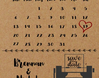 Save the Date Calendar Style - Customized Printable